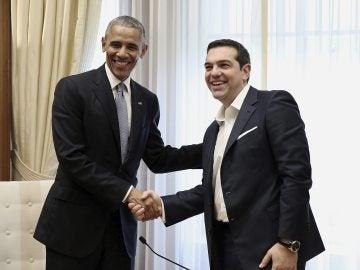 El primer ministro griego, Alexis Tsipras, se reúne con el presidente estadounidense, Barack Obama, en Atenas