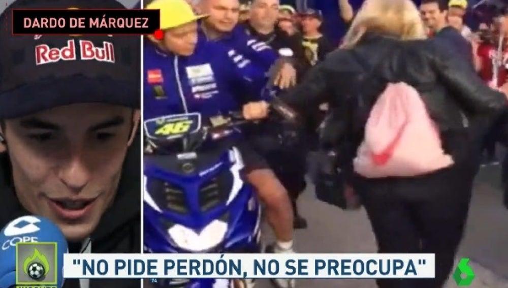 Márquez analiza la patada de Rossi a una aficionada