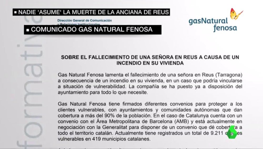 Frame 60.690583 de:  Gas Natural podría ser multada con un millón por cortar la luz de la anciana fallecida en Reus sin avisar al Ayuntamiento