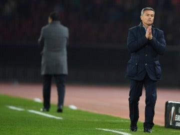 Fran Escribá durante el partido de Europa League