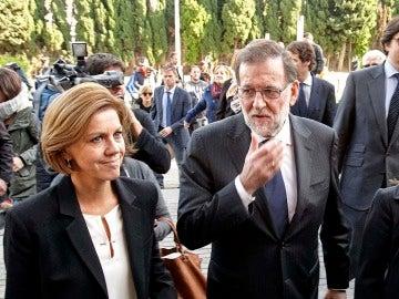 Rajoy y Cospedal a la llegada al funeral por Rita Barberá