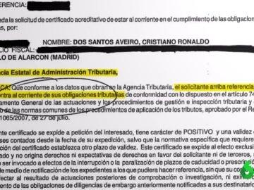 Documento de la Agencia Tributaria sobre Cristiano Ronaldo