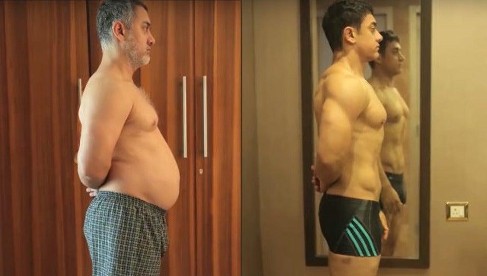 Espectacular tranformación de Aamir Khan