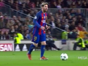 Leo Messi, durante el partido contra el Monchengladbach