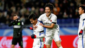 El Kashima celebra un gol ante el Atlético Nacional