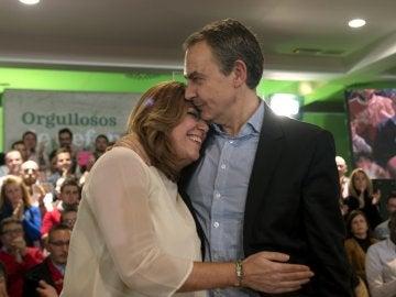 José Luis Rodríguez Zapatero, expresidente del Gobierno, con la dirigente andaluza Susana Díaz