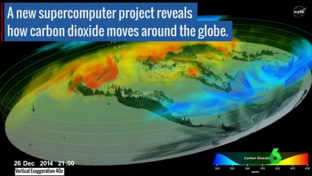 Frame 5.75364 de: Un vídeo publicado por la NASA muestra el movimiento del CO2 por todo el planeta