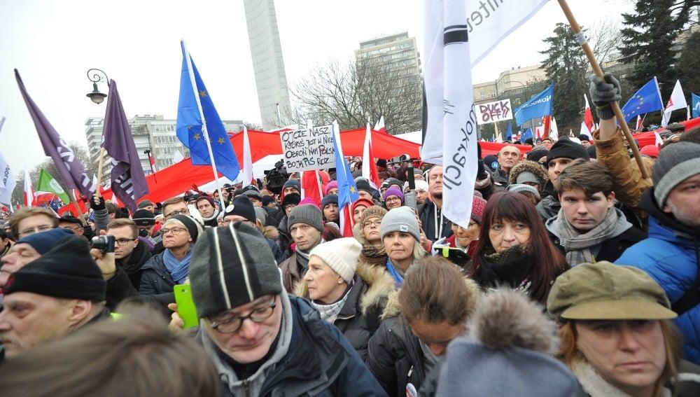 Manifestación en Varsovia