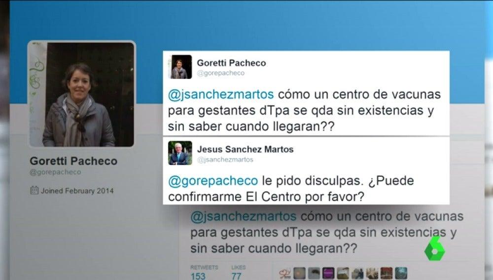 Tuit de Goretti Pacheco pidiendo más vacunas