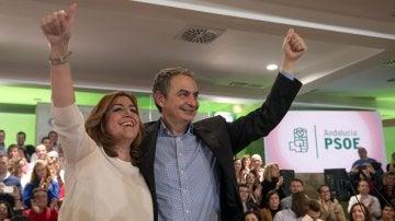 La secretaria general del PSOE andaluz y presidenta de la Junta, Susana Díaz, y el expresidente del Gobierno José Luis Rodríguez Zapatero
