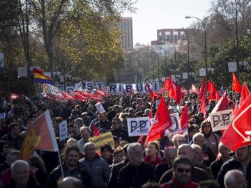 Los sindicatos se manifiestan en Madrid contra los recortes del Gobierno