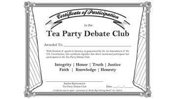 Diploma que acredita a los niños y niñas como membros del Club de debate del Tea Party.