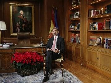 El rey Felipe VI, durante el discurso de Navidad