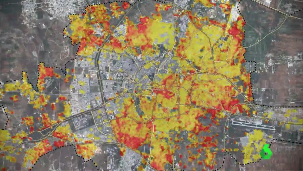 Mapa de las zonas destruidas en Alepo