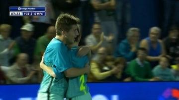 Xavier Planas celebra su gol ante el Middlesbrough