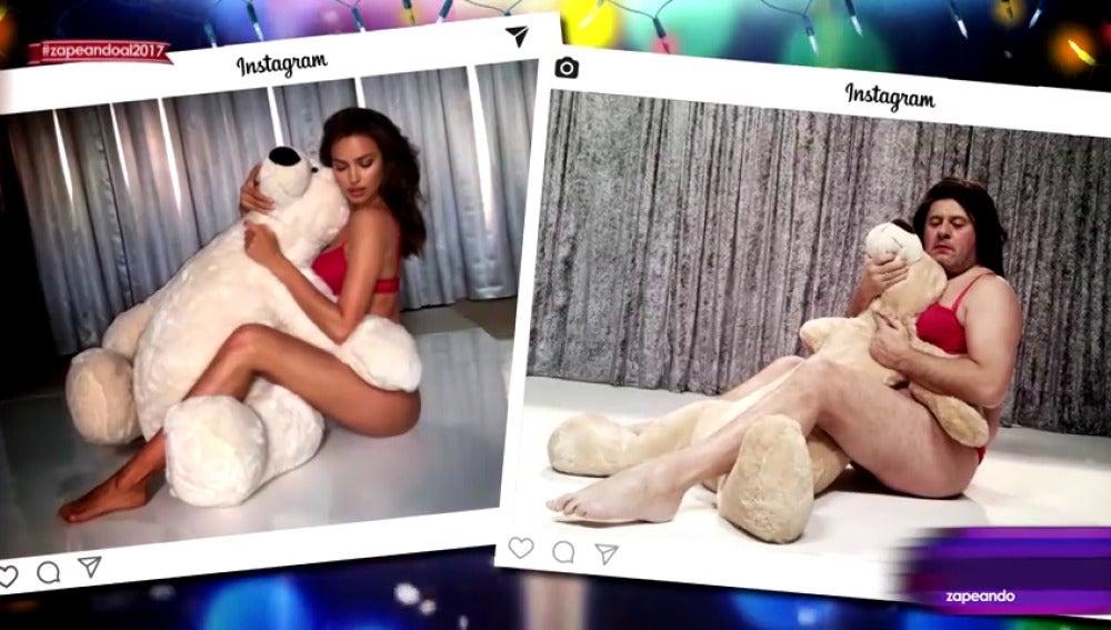 Frame 86.89677 de: Mariah Carey, Cristiano Ronaldo, Irina Shayk... Miki Nadal recrea las fotos más sensuales de Instagram en 2016 con su peculiar estilo
