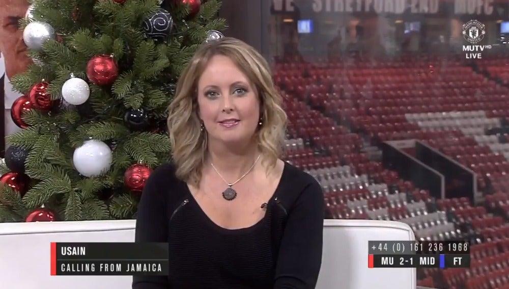 La presentadora del programa del United, cariacontecida por la llamada de Bolt