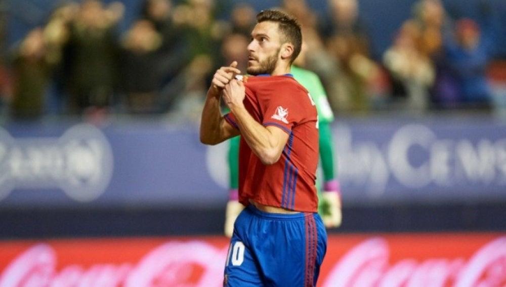 Clerc celebra su gol frente al Valencia en el descuento
