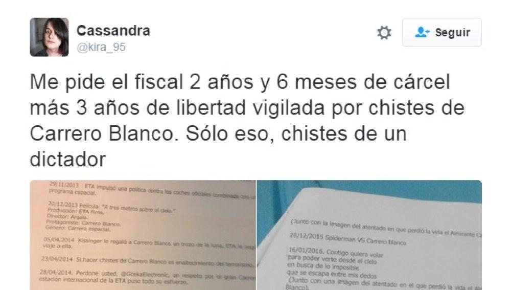Tuit de @kira_95 sobre Carrero Blanco