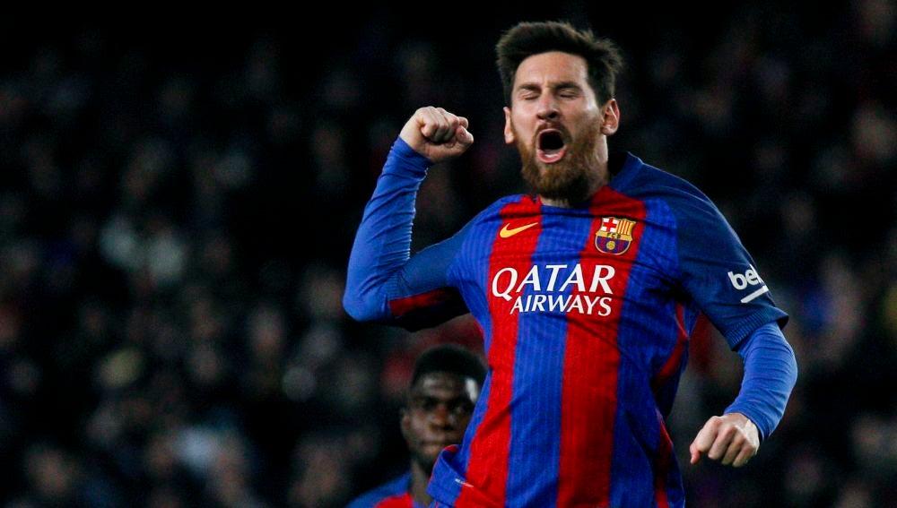 Leo Messi celebra eufórico su gol