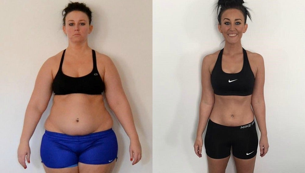 Mujer culturista antes y despues de adelgazar