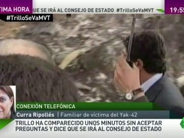 """Frame 103.265154 de: Curra Ripollés: """"Pido al Gobierno que aclare si relevan a Trillo o le han pedido que dimita"""""""