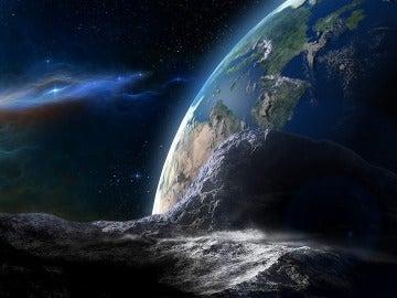 Simulación de un asteroide acechando la Tierra