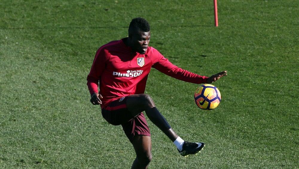 Thomas, durante un entrenamiento con el Atlético de Madrid
