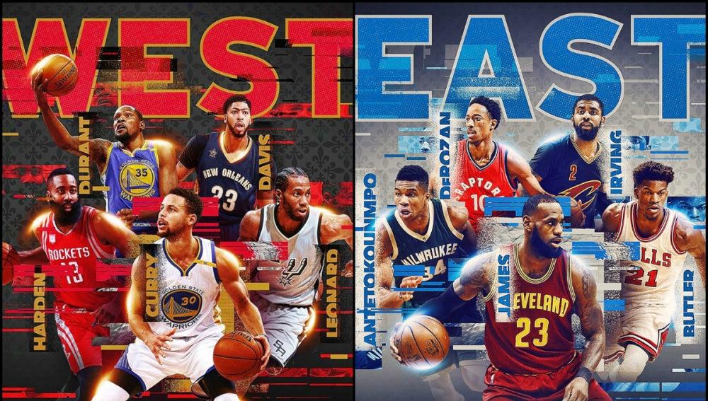 Los titulares del All Star Game 2017 de la Conferencia Oeste y de la Conferencia Este