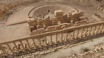 Imagen aérea del teatro romano de Palmira