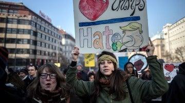 Manifestación en Praga contra Donald Trump