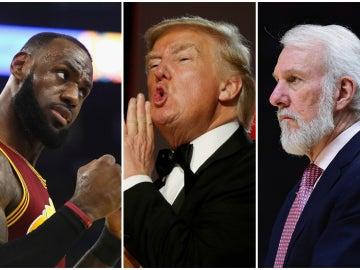 LeBron James, Donald Trump y Gregg Popovich