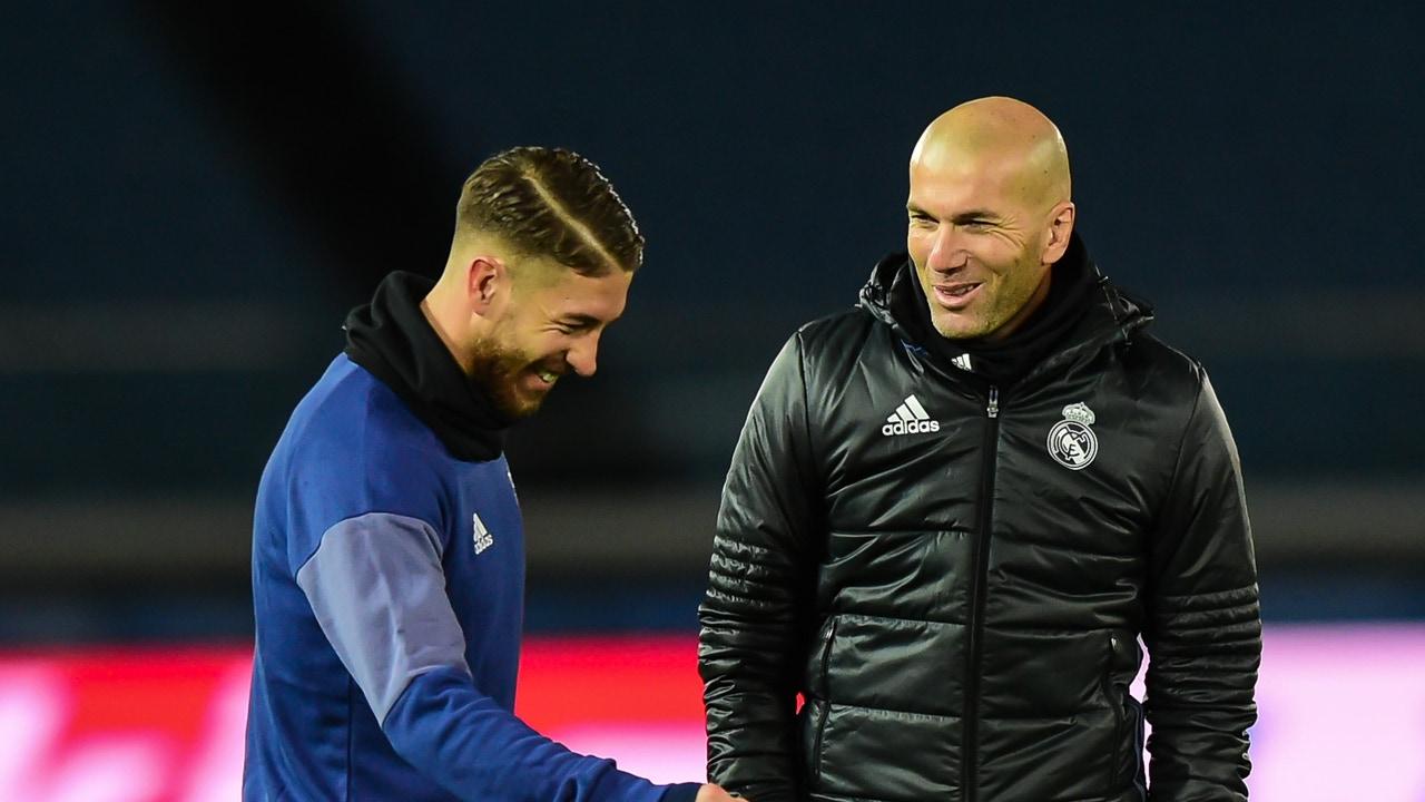 Sergio Ramos y Zinedine Zidane, durante un entrenamiento