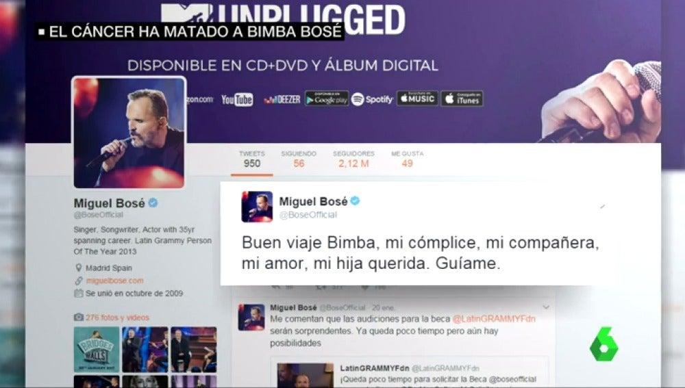"Frame 26.273585 de: La emotiva despedida de Miguel Bosé a Bimba: ""Buen viaje Bimba. Guíame"""