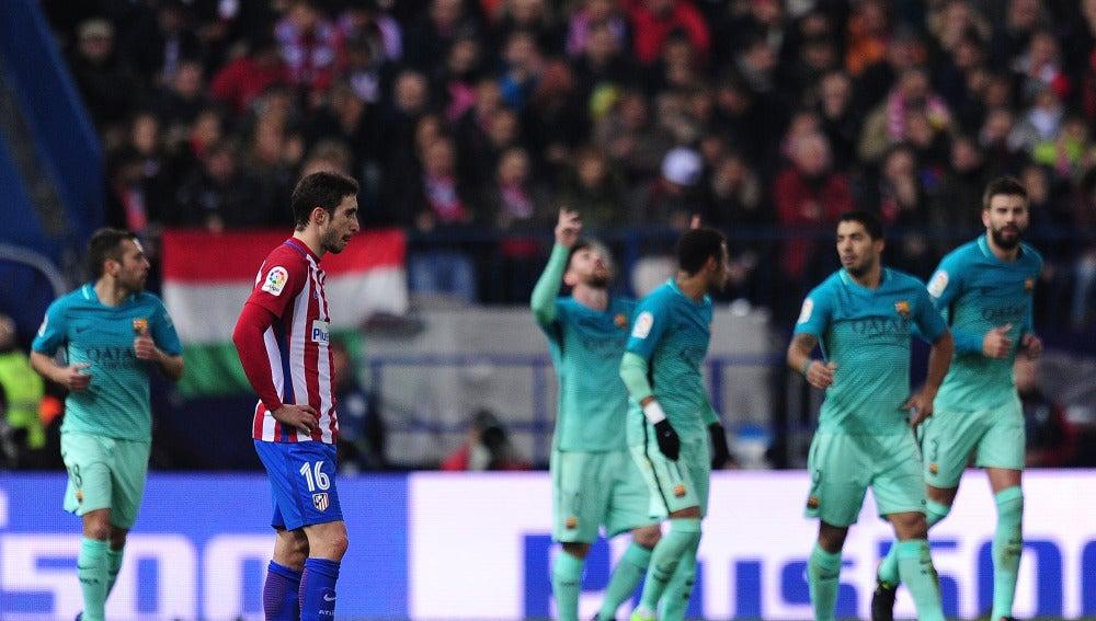 Leo Messi celebra su gol en el Vicente Calderón