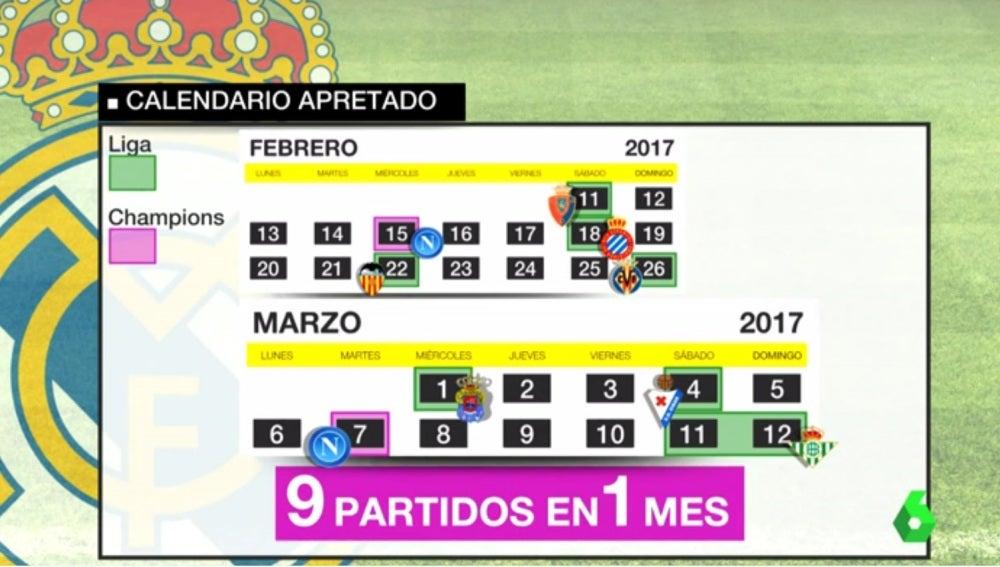 Calendario Real Madrid.El Ajustado Calendario Del Real Madrid Jugara Nueve Partidos En Apenas Un Mes