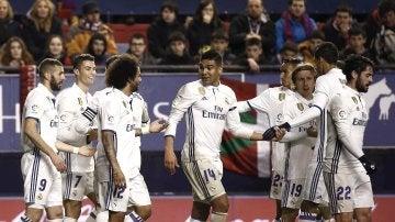 Los jugadores del Real Madrid, en El Sadar