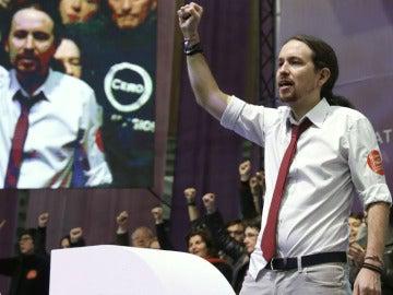 Pablo Iglesias en el congreso de Podemos en Vistalegre