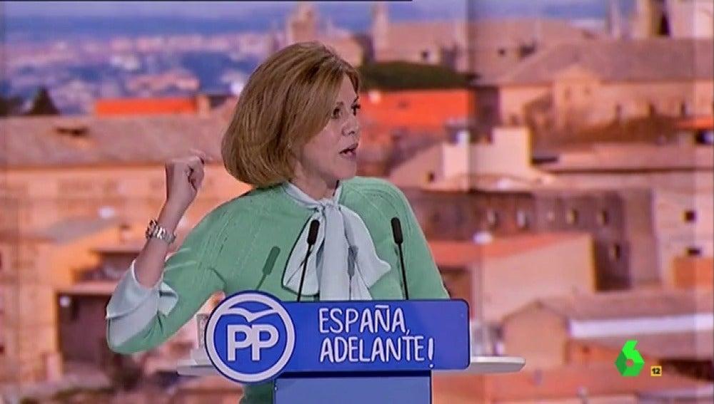 Frame 15.203027 de: María Dolores de Cospedal se cuela en Vistalegre II para apoyar a Mariano Rajoy