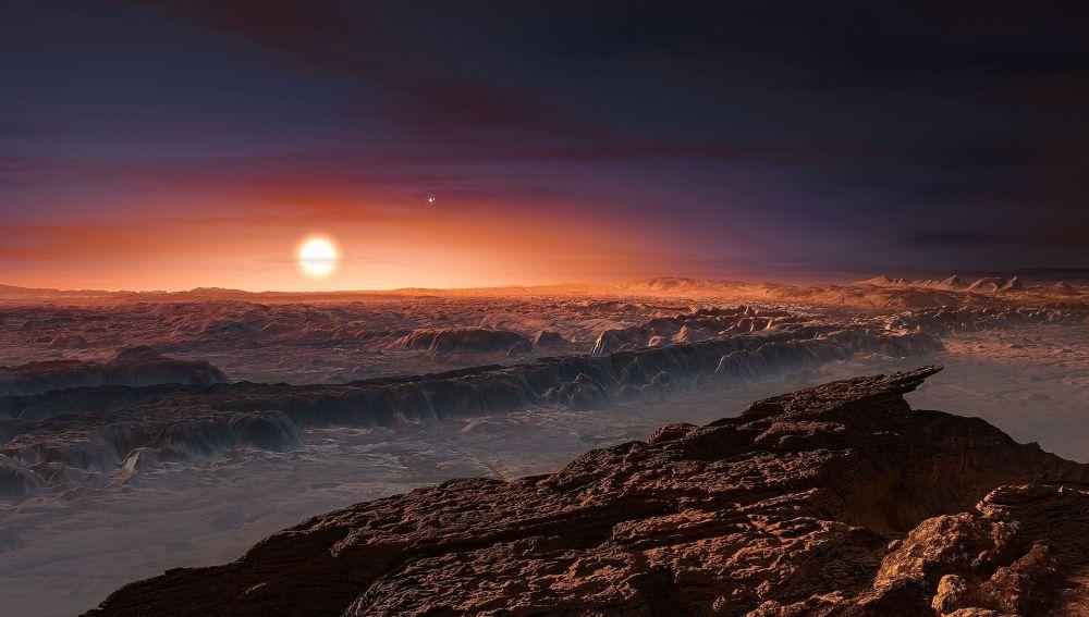 Representación artística de la superficie del exoplaneta Proxima b