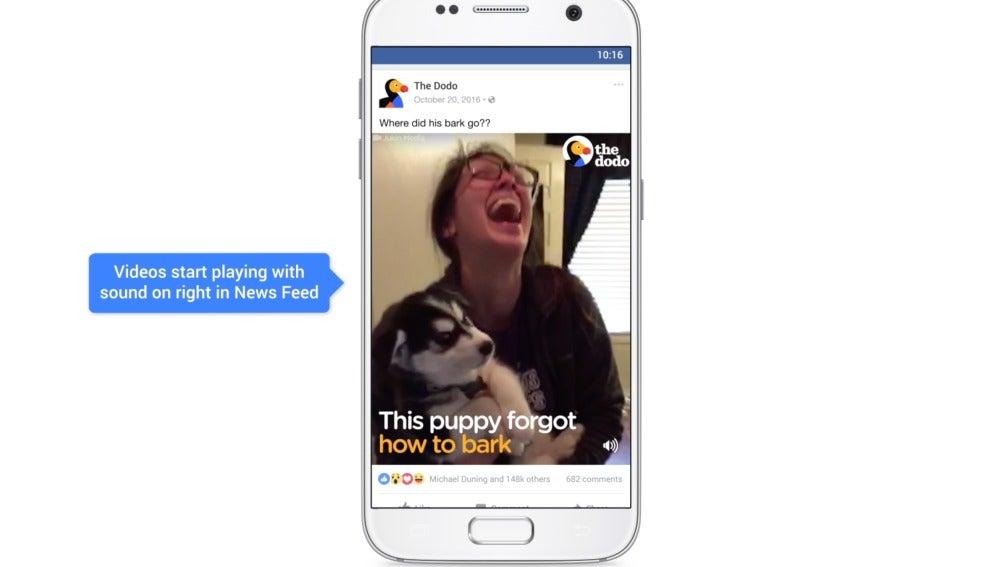 Activación del sonido en los vídeos de Facebook