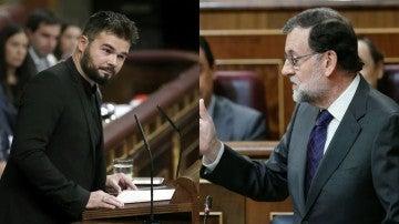 Gabriel Rufián y Rajoy en el Congreso
