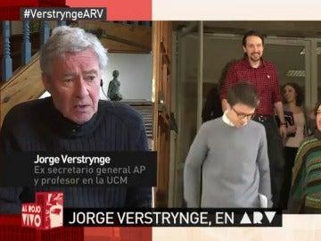 """Frame 12.099906 de: Jorge Verstrynge: """"No se va a producir un giro a la izquierda de Podemos; su nueva estrategia es aunar gamonal y moqueta"""""""