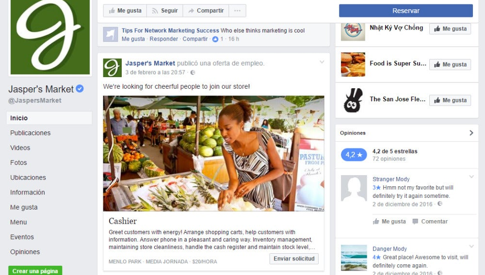 Búsqueda de empleo a través de Facebook