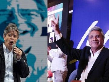 Guillermo Lasso, izquierda y Lenín Moreno, derecha
