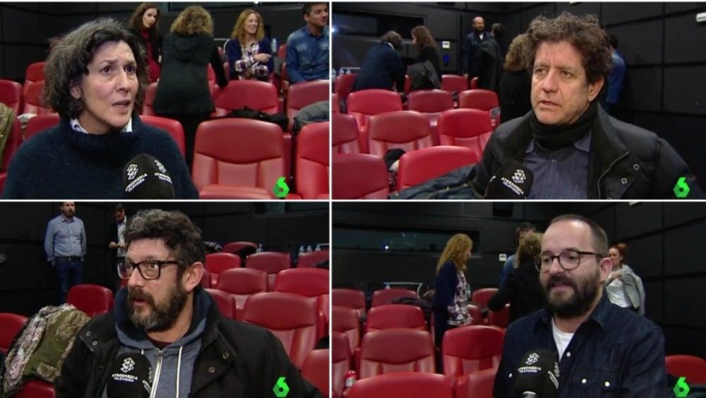 Los actores Elvira Mínguez, Pedro Casablanc y Manolo Soto y el director Fernando González, en el estreno de 'El Guardián Invisible'