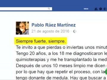 El ejemplo de superación y lucha contra la leucemia, contado por Pablo Ráez en las redes sociales
