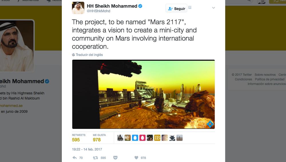 Mohammed bin Rashid Al Maktoum desvela los planes de ir a Marte