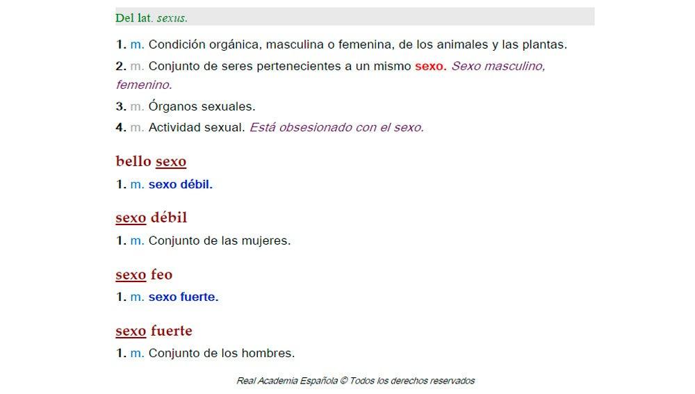 """Definiciones y usos de la palabra """"sexo"""" en la RAE"""