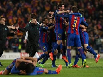 Los jugadores del Barcelona eufóricos tras la remontada al PSG